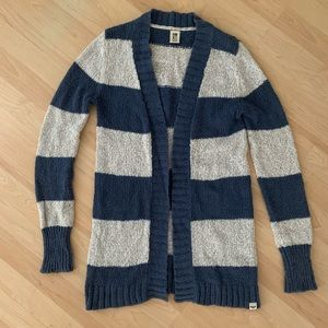 ROXY long open rugby striped knit cardigan M